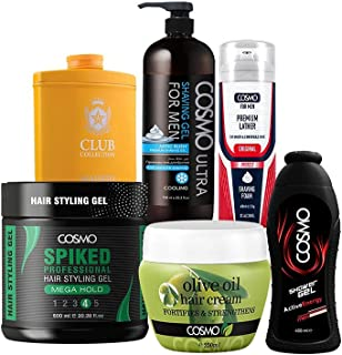 Cosmo Men Scape Grooming Sets - Spiked Hair Styling Gel Mega Hold 600ml - Madrid Perfumed Talc 250g - Artic Rush Shaving G...