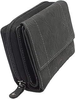 Monedero compacto de piel de búfalo con muchos compartimentos para tarjetas de crédito, color antracita, para mujeres y niñas