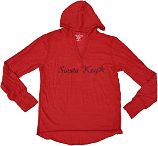 Siesta Key, Florida SAAG Women Red Tri-Blend Long Sleeve Hooded T-Shirt