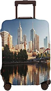 Travel Luggage Cover,Idyllic View Of Yarra River Melbourne Australia Architecture Tourism Suitcase Protector