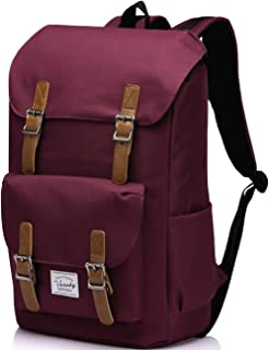 School Backpack,Vaschy Water Resistant Drawstring Laptop Backpack Women for 15.6 inch Laptop Burgundy
