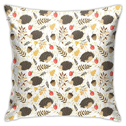 Funda de almohada, linda funda de almohada de erizos, moderna funda de cojín cuadrada de decoración para sofá, cama, silla, coche, 45,7 x 45,7 cm