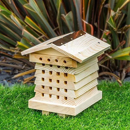 SA Products Wooden Bee House for Solitary Bees - Natural Wood Hive for Mason & Leafcutter Bees - Bee Hotel Nesting Box with 6 Trays - Beekeeping Home for Garden & Lawn - Pollinator Bug Habitat Shelter