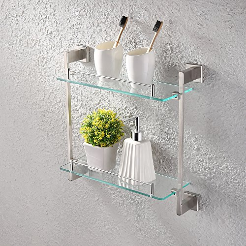 KES Bathroom Glass Shelf 2 Tier 16-Inch Tempered Glass Shower Caddy Bath Basket Stainless Steel RUSTPROOF Wall Mount Brushed Finish, A2420B-2