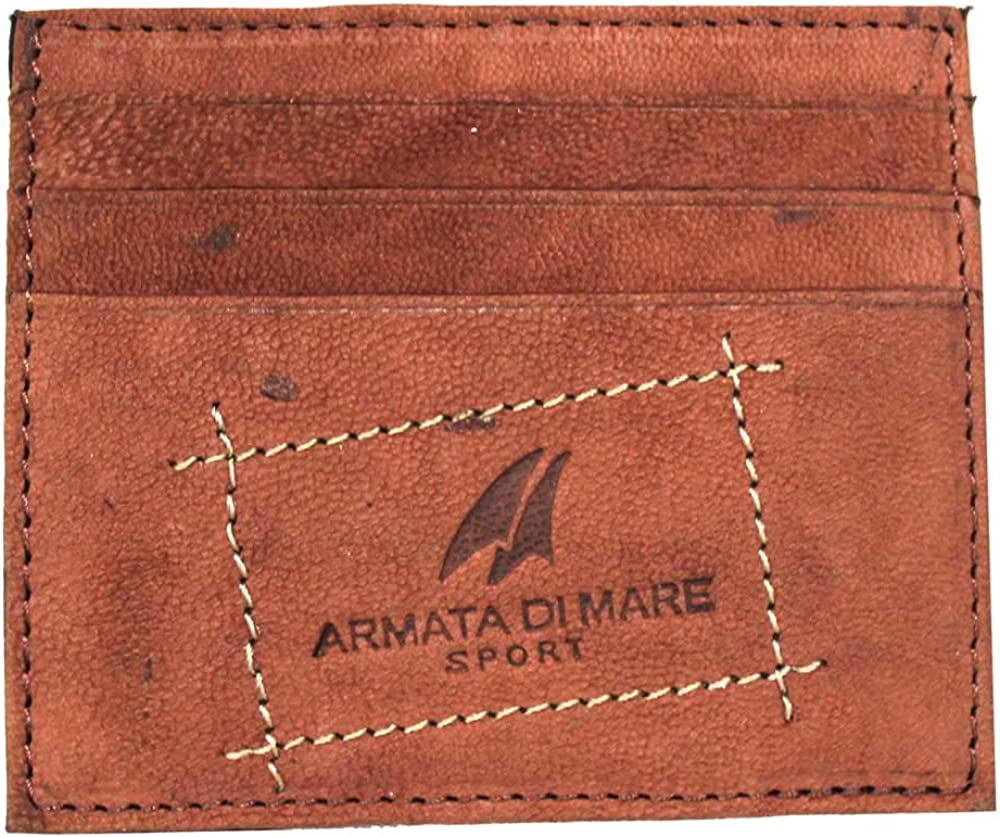 Armata di mare, portafoglio, porta carte di credito per uomo, in vera pelle AM-PF474-26-CO