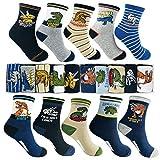 Memoryee Garçons De La Mode De Dessin Animé Motif De Dinosaure Chaussettes 4-16 Ans Meilleur Cadeau Enfants Coton Sport Crew Sock 10 Pack Ensemble