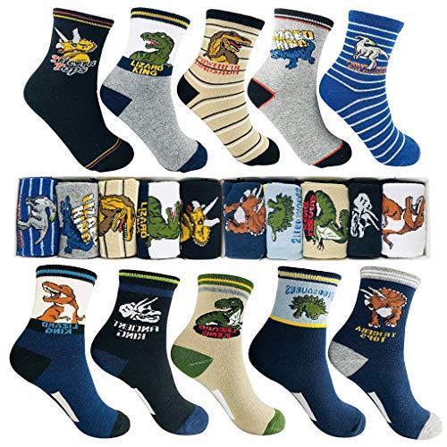 Memoryee jungen mode cartoon dinosaurier muster socken 4-16year alt beste geschenk kinder bunt baumwolle sport crew socke 10 paket set