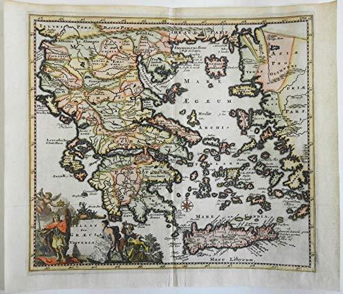 Ottoman Greece Crete Corfu Athens Corinth Thessalonica 1697 decorative map