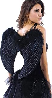 AISHN Angel Wings Feather Cosplay Halloween Party Costumes for Kids Adults Women (Small 17.7''X 13.8'', Black)