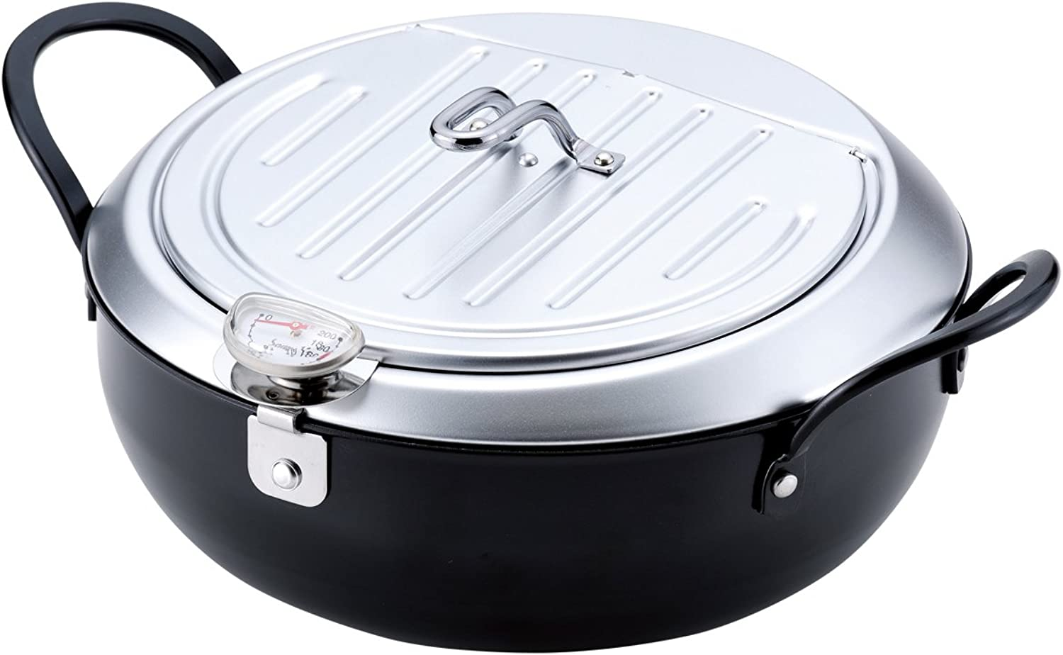 WAHEI FREIZ Iron Tempura Deep Fryer with a lid, dia. 24cm (9.4 in.), IH-compatible and made in Japan, TM-9090