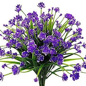 Silk Flower Arrangements AITISOR Artificial Flowers Fake Outdoor Plants Faux UV Resistant Flower Plastic Shrubs Indoor Outside Hanging Decorations (Purple)