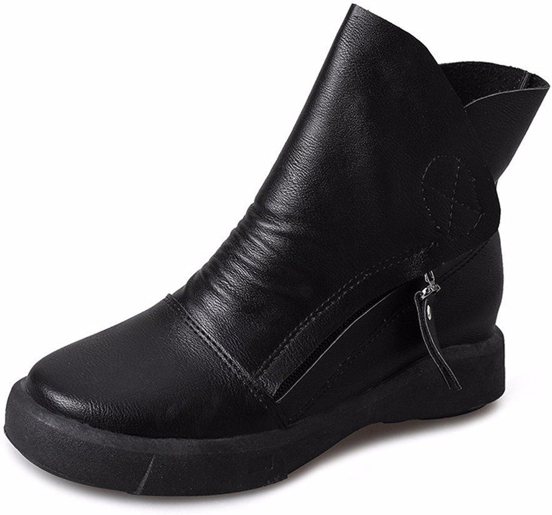 DIDIDD Women'S Boots Retro Boots Flat Heel Martin Boots round Head Short Boots Zipper Belt Buckles Autumn Winter shoes,36 Eu,Black