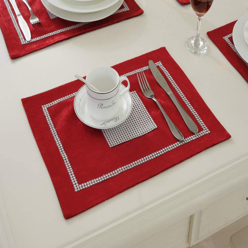 San Tungus Pack Cheap SALE Start of 4 Sequined Rhinestone Placemat Inches 12x16 Limited time trial price