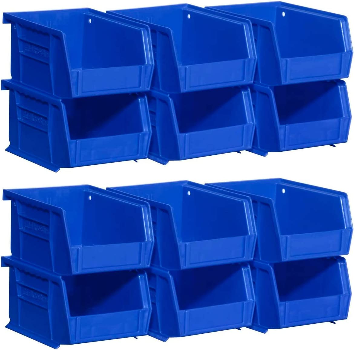 6-Pack 5-Inch x 4-Inch x 3-Inch Akro-Mils 08212BLUE 30210 AkroBins Plastic Storage Bin Hanging Stacking Containers, Blue, 1 Pack