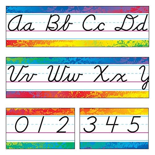 "Argus""Modern Cursive"" Splashy Colors Alphabet Line Bulletin Board Sets (T-8269)"