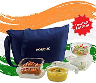 Borosil Limited Edition Pride Daisy Glass Lunch Box Set of 4, (320 ml Sq. + 240 ml Round) Microwave Safe Office Tiffin