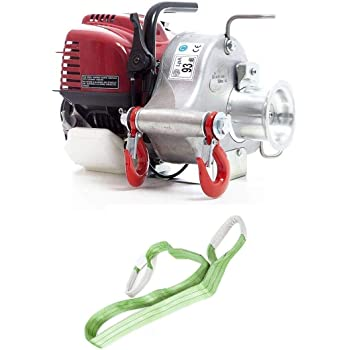 Portable Winch PCW3000 Gas-Powered Capstan Pulling Winch with PCA-1276 Steel Locking Carabiner Bundle, 2 Items