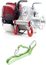 Portable Winch PCW3000 Gas-Powered Capstan Pulling Winch with PCA-1259 Polyester Sling (Bundle, 2 Items)