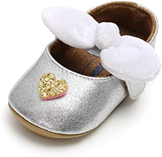 SOFMUO Baby Girls Sparkly Mary Jane Flats with Bowknot Non-Slip Soft Rubber Sole Toddler First Walkers Princess Dress Shoes