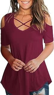 Women's Casual T Shirt Criss Cross V Neck Cold Shoulder Tops S-XXL