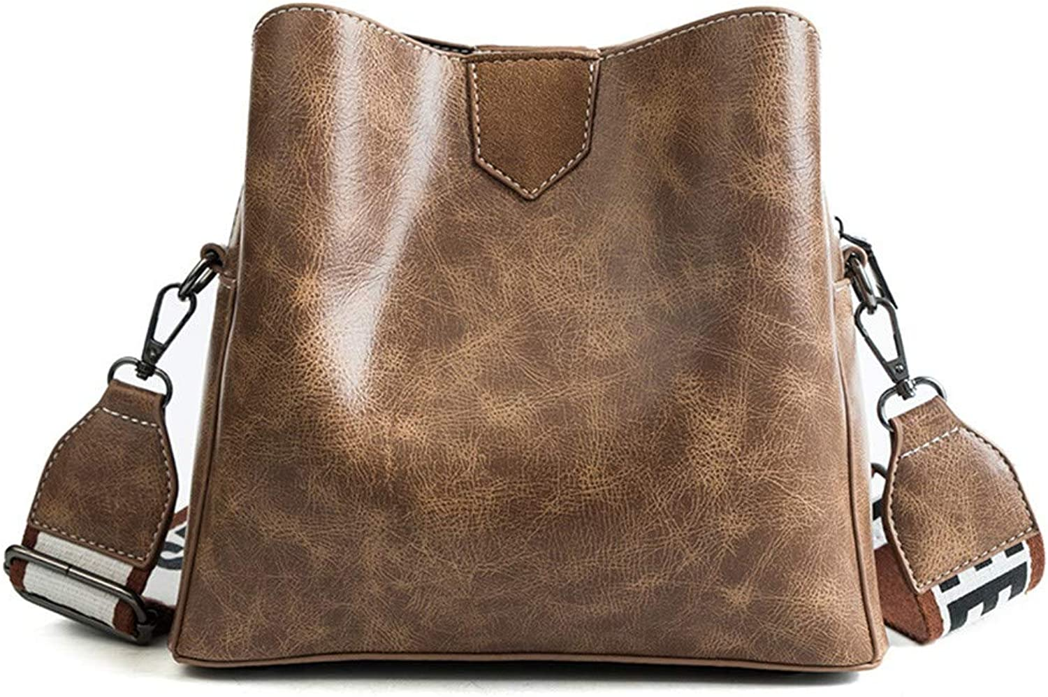 H-M-STUDIO New Style Autumn and Winter Fashionable Air Bucket Wide Shoulder Strap Satchel Brown 24  22  10Cm