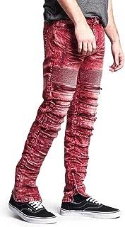 G-Style USA Men's Biker Distressed Slim Jeans - Acid Wash Knee Hole