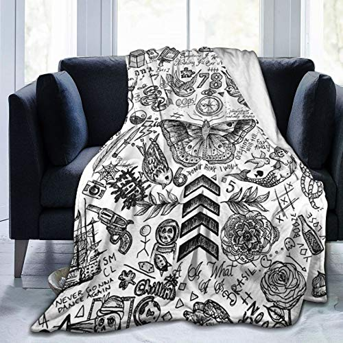 Beauty-Design Manta polar de One Direction Tattoos, suave y cálida, para sofá, cama, coche, viaje, oficina, colcha de 152 x 127 cm