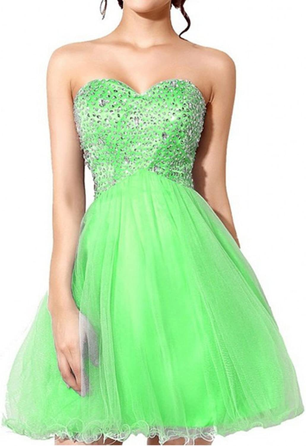 AK Beauty Women's Sweetheart Crystal Beading Short Prom Dresses