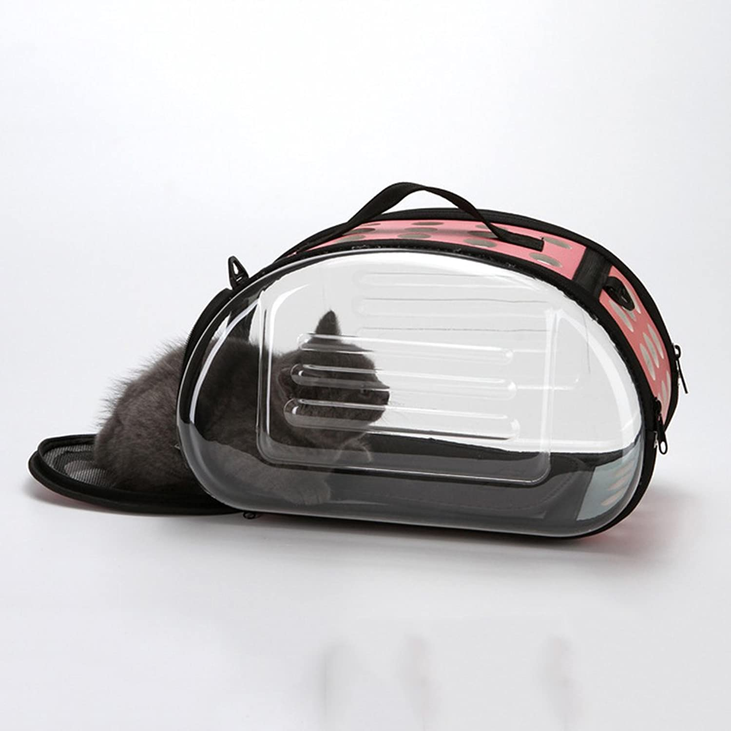 QINYL Transparent Outdoor Pet Carrier,Portable Pet Carrier Breathable Tote Bag EasyFit For Traveling Hiking Camping(Pink)