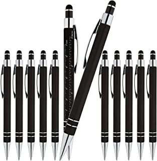 Bulk Executive Professional Business Metal Ballpoint Pens with Ruler and Stylus, Rubberized soft-touch - Black barrel with Black ink (12 pack)