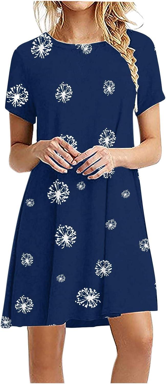 Dresses for Women Casual, Fashion Women Casual Dandelion Print Short Sleeve O-Neck Solid Ladies Loose Mini Dress