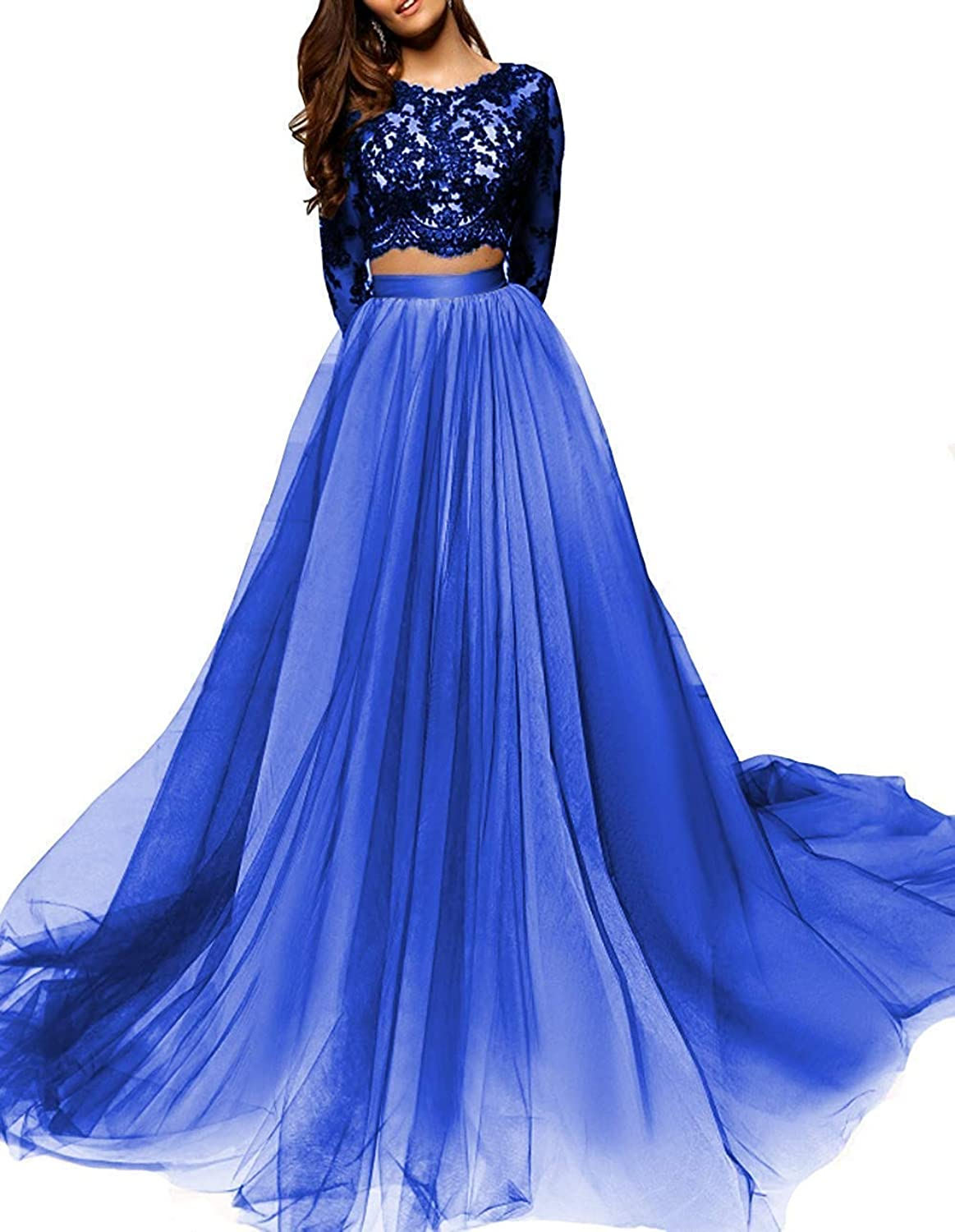 PearlBridal Two Piece Lace Long Sleeves Prom Dresses Appliques Long Evening Dresses for Women Formal