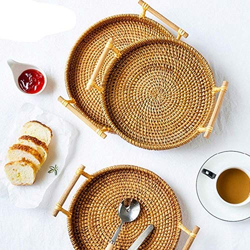 NKLC Bread Baskets, Handwoven Round Bread Basket with Handle, Food Fruit Vegetables Serving Basket, Natural Willow Woven Bread Tray Storage Basket(L)