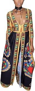Women's African Print Deep V Neck 3/4 Sleeve High Slit Dashiki Long Maxi Dress