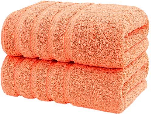 CASA COPENHAGEN Bella, Set di Include 2 Asciugamani da Bagno, Malibu Peach