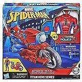 Marvel Spider-Man – Figurine Titan Spider-Man 30 cm et sa moto- Parle en français - Jouet Spider-Man