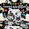 Watercolor Video Game Birthday Party Supplies - Game Theme Party Decorations for Boys Birthday Backdrop BalloonsPlates Cups Napkins Tablecloth Cutlery Bags Tableware Set Serves 16 Guests 152 PCS from
