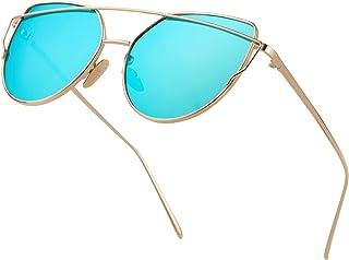 bff7c756e91af Cat Eye Mirrored Flat Lenses Metal Frame Sunglasses for Men Women Retro  Fashion Sun glasses Shades