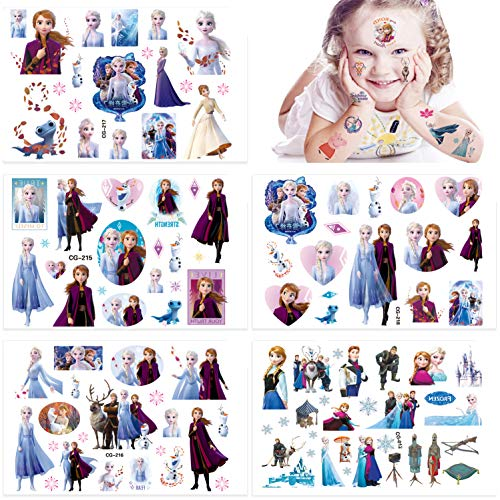 Qemsele Temporäre Tattoo Set Kinder, 200+ Pcs 10 Sheet Tattoos Aufkleber Sticker Wasserdicht Klebe-Tattoos Frozen Superheld Für Geschenktüten Kindergeburtstag Mitgebsel Mädchen Jungen (Frozen)
