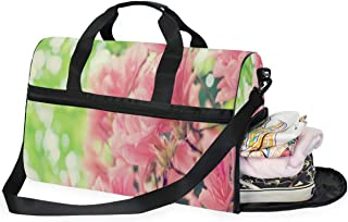 Travel Tote Luggage Weekender Duffle Bag, Hawaiian Flowers Summer Large Canvas shoulder bag with Shoe Compartment