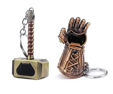 Nidavellir 2-Pack Infinity Gauntlet Keychain Bottle Opener Mjolnir Keychain Bottle Opener, Thanos Glove Keychain Bottle Opener Thor Hammer Keychain Bottle Opener (Bronze)