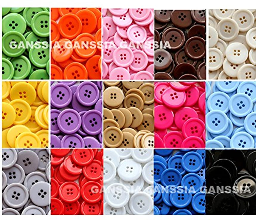 GANSSIA 15 Colors Buttons 7/8'' (22.5mm) Sewing Button Multi Colored Pack of 105 with Box (Each Color 7 Pcs)