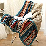 Best Boho Striped Printed Flannel Throws Blankets Quilted Throws with Coffee Sherpa Lining for Bedroom Outdoor Decor 59x79 Inch