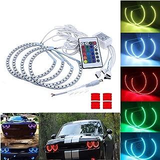 Qiuko RGB Multi-color LED Angel Eye Light Halo Ring Demon KIT Headlight For For Dodge Challenger 2008-2014