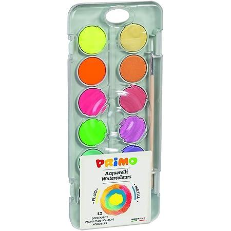 PRIMO- Acquerello Fluo E Metallizzato, Multicolore, 12 Pastiglie Metal, 115A12FM