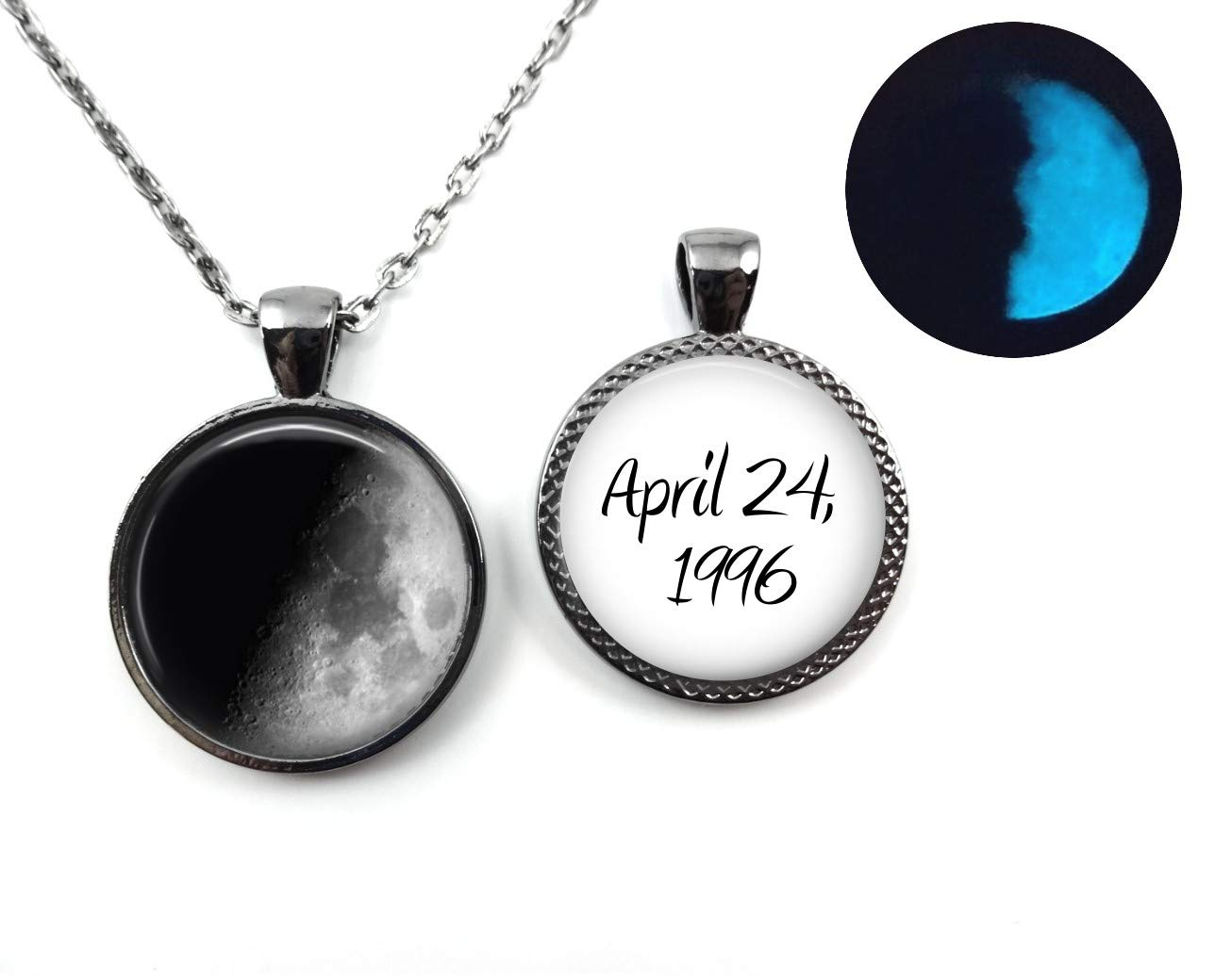Glowing Double Sided Your Custom Birth Moon Necklace or Key Chai