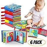 Bébé Livre en Tissu, Felly Livres d'éveil Jouet Educatif Cadeau Anniversaire Fête Nouvel An pour Bambin Enfant de 0 à 3 ans lot de 6
