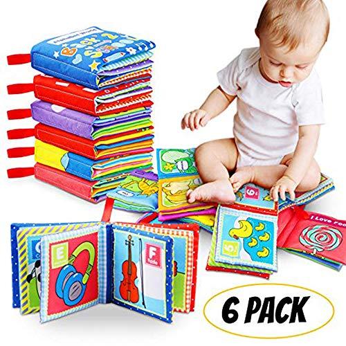 Felly Stoffbuch für Baby, Babybuch, Fühlbuch Kinder Geschenk, 1 Jahr alt, Kleinkind, Pädagogisches Babyspielzeug Jungen Mädchen, Kinderwagen Spielzeug, Geschenkbox für Babyparty, waschbarer Stoff