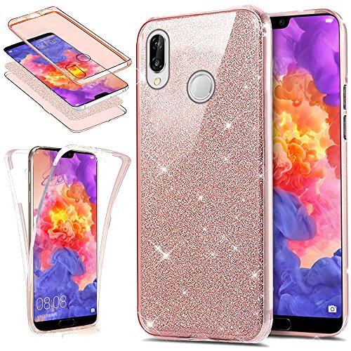 Kompatibel mit Huawei P20 Lite Hülle Schutzhülle Case,Full-Body 360 Grad Bling Glänzend Glitzer Durchsichtige TPU Silikon Hülle Handyhülle Tasche Front Cover Schutzhülle für Huawei P20 Lite,Rose Gold