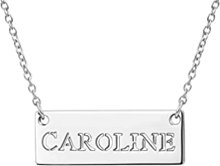 Personalized Name Bar Necklace Customized Any Nameplate Cut-Out Horizontal Carved Copper Silver Engraved Pendant Women Jewelry
